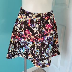 Lily Rose Black Abstract Floral Scuba Skater Skirt